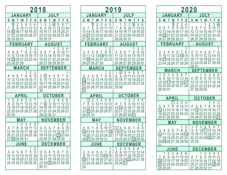2018 2019 2020 calendar printable year calendar 2018 through 2020