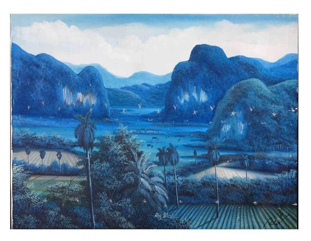 Details About Cuba Vintage Original Painting Blue Mountain Tropic Landscape Arte Cubano Saiba Cuba Art Painting Cuban Art