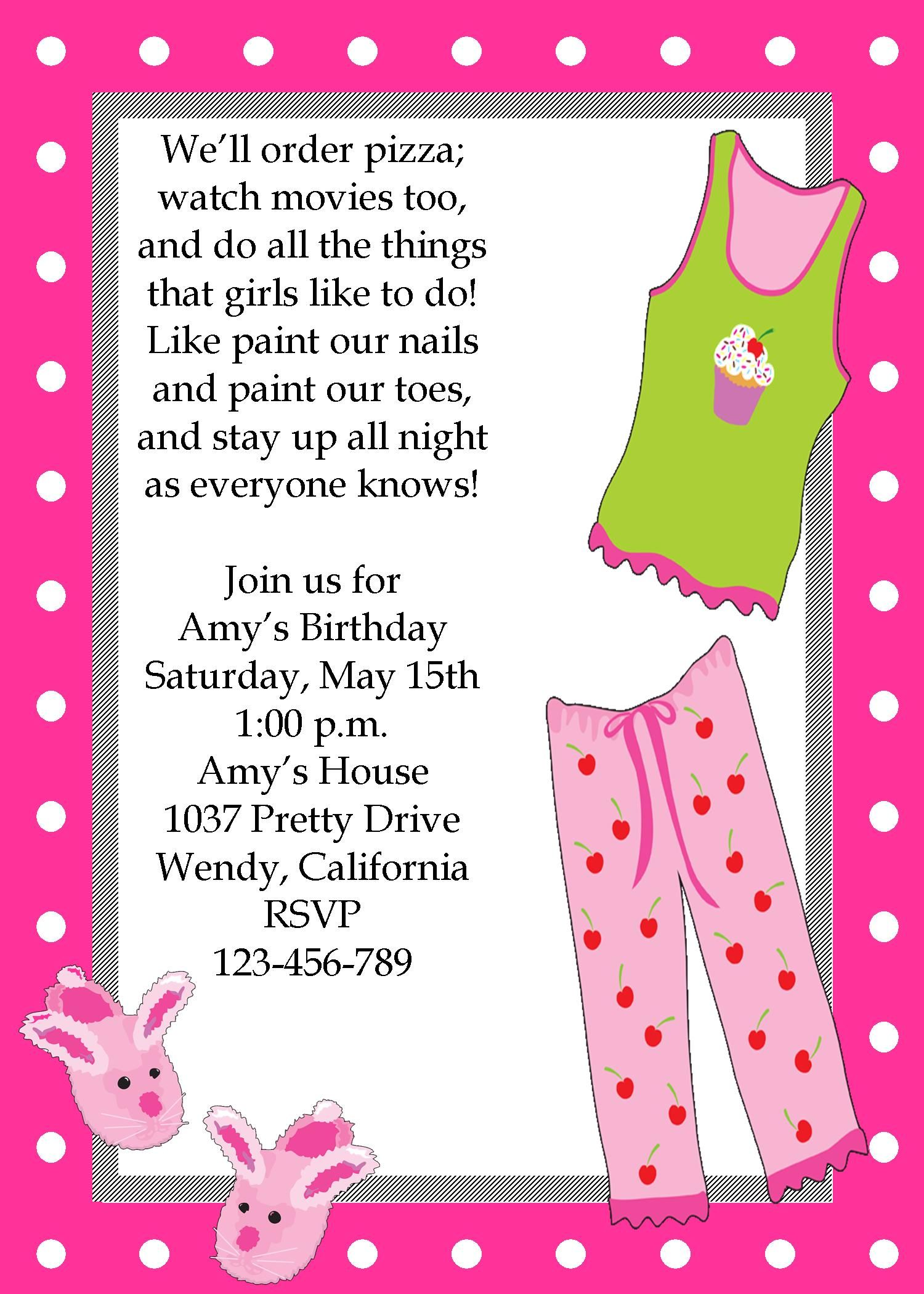 Girls sleepover pajama party invitation | My child/fun things to do | Pinterest | Girl sleepover ...
