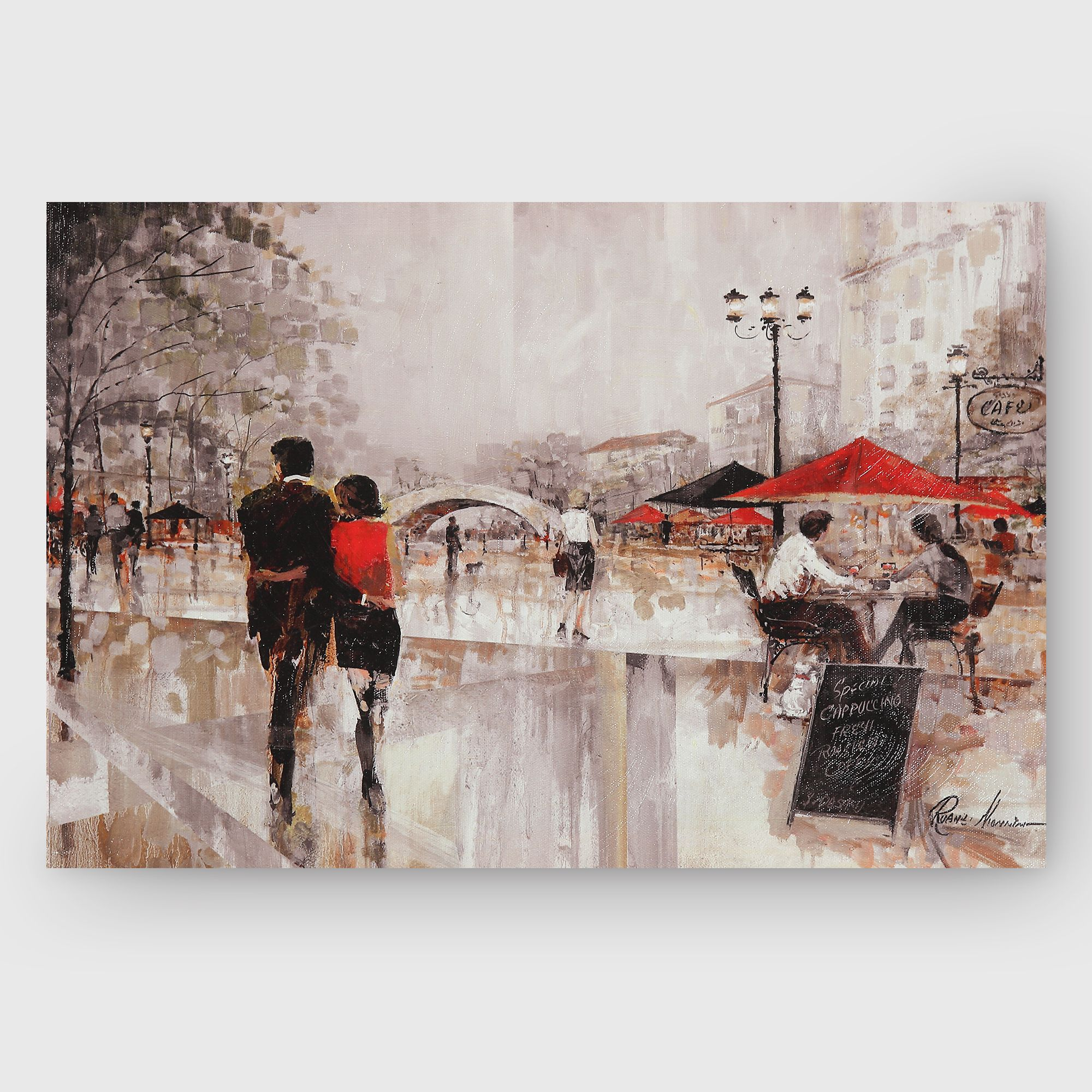 Red Barrel Studio Riverwalk Charm Rectangle Framed Oil Painting Print