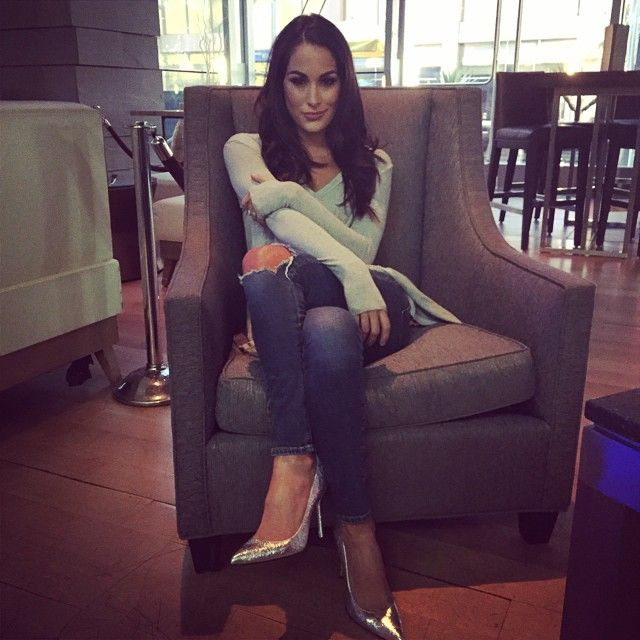 2016 beautiful celebrity from wwe diva brie bella Nikki bella fashion style