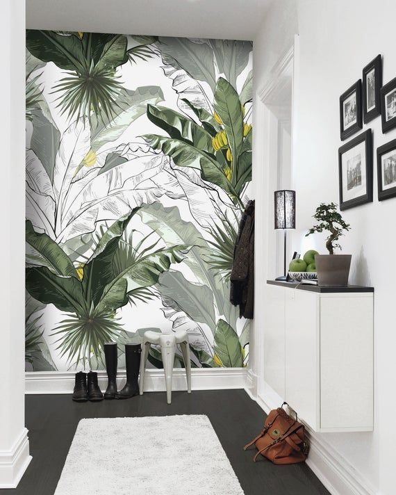 Best Banana Leaf Wallpaper Charcoal Sheet Wall Mural Tropical 400 x 300