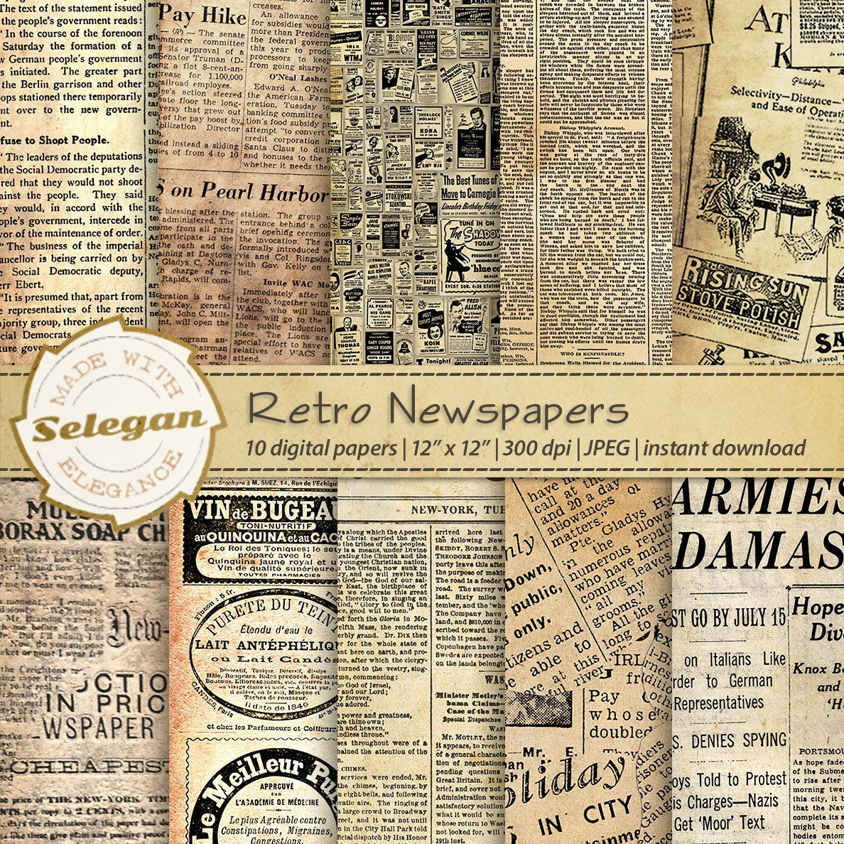 Retro Newspapers Antique Old Vintage Worn Classic News Paper