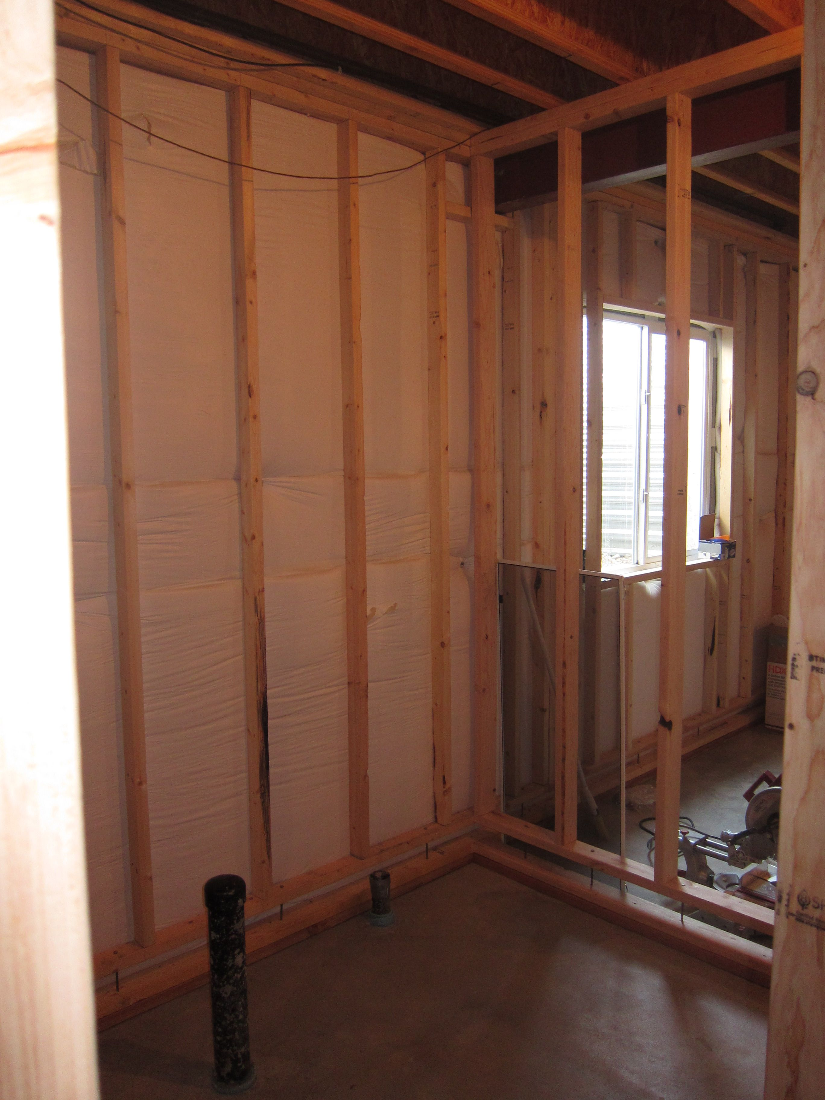 Basement Bathroom With Pex Plumbing And A Rainfall Showerhead   Framing  Stage
