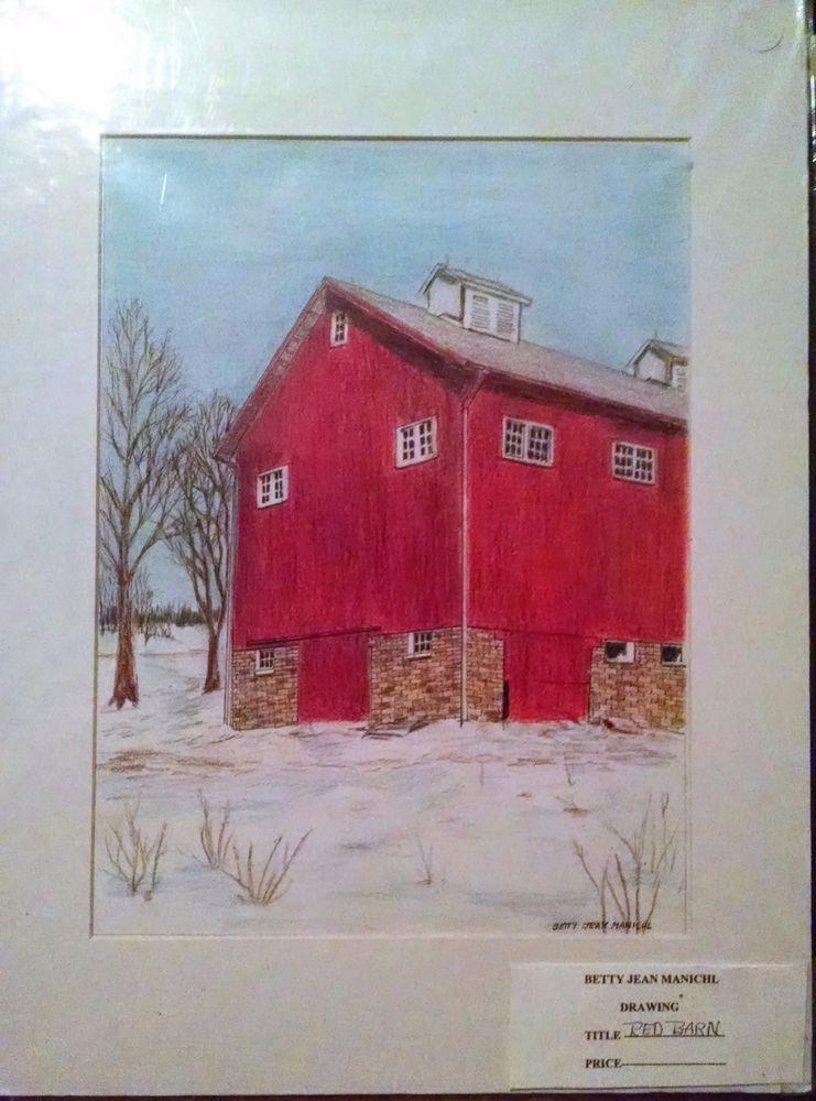 LORAIN BARN Drawing ORIGINAL Art BETTY MANICHL Colored Pencil OHIO 12 X 16 Red