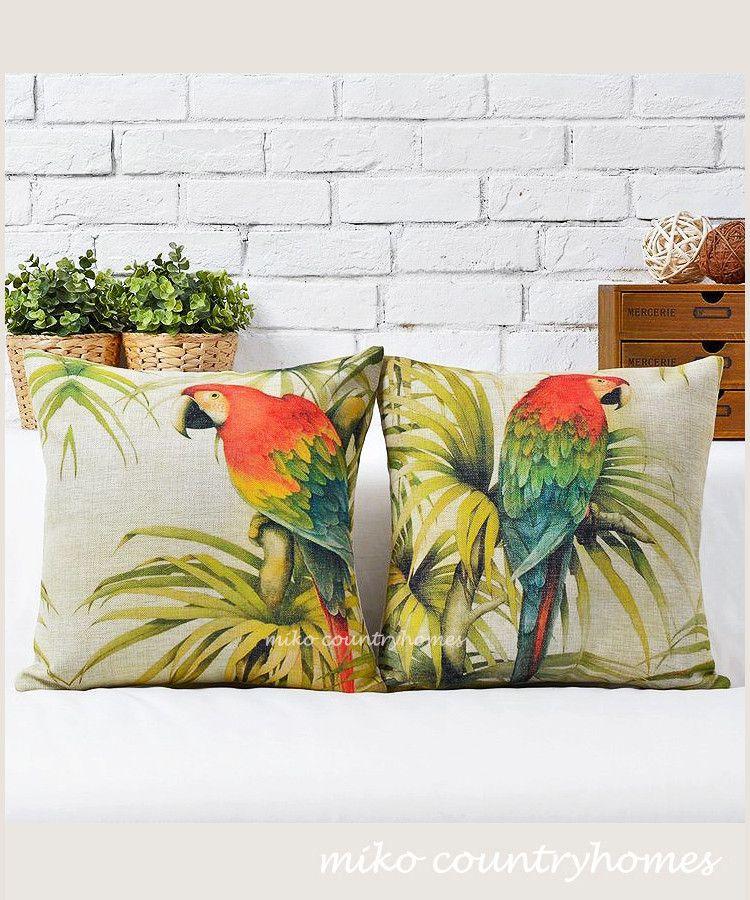 "$15/each | Parrot | Bird Illustration | Decorative Pillow Cover | 45x45cm 18""x18"" #homedecor #throwpillows #pillowcover #parrot #birdillustrations"