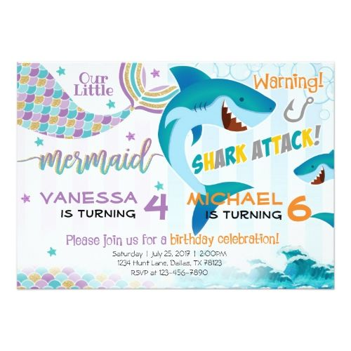 Mermaid shark birthday party invitation siblings siblings party mermaid shark birthday party invitation siblings stopboris Image collections