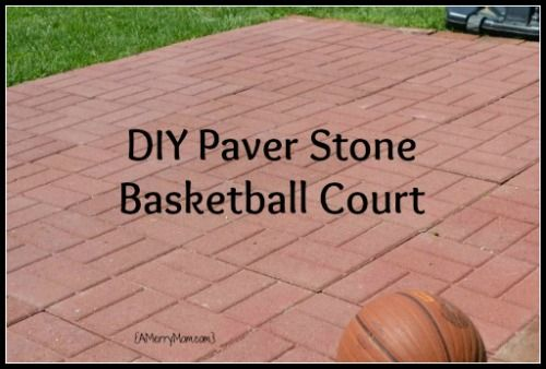a moms diy backyard basketball court from paver stones amerrymomcom