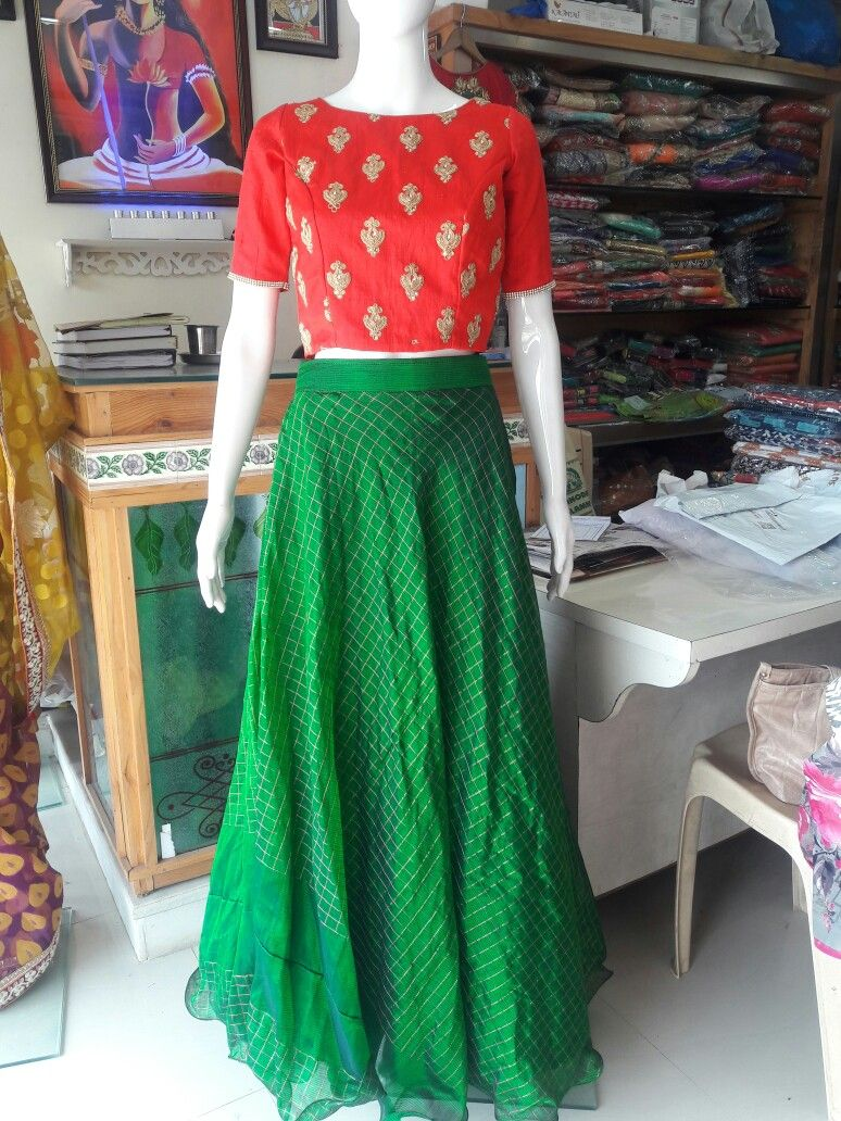 154be8bf517 Red n Green crop top vth umbrella bottom | long frocks | Green crop ...