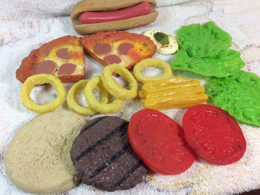 Play Food Lot Of Picnic Foods Plastic Rubber Hotdog Pizza Lettuce Realistic