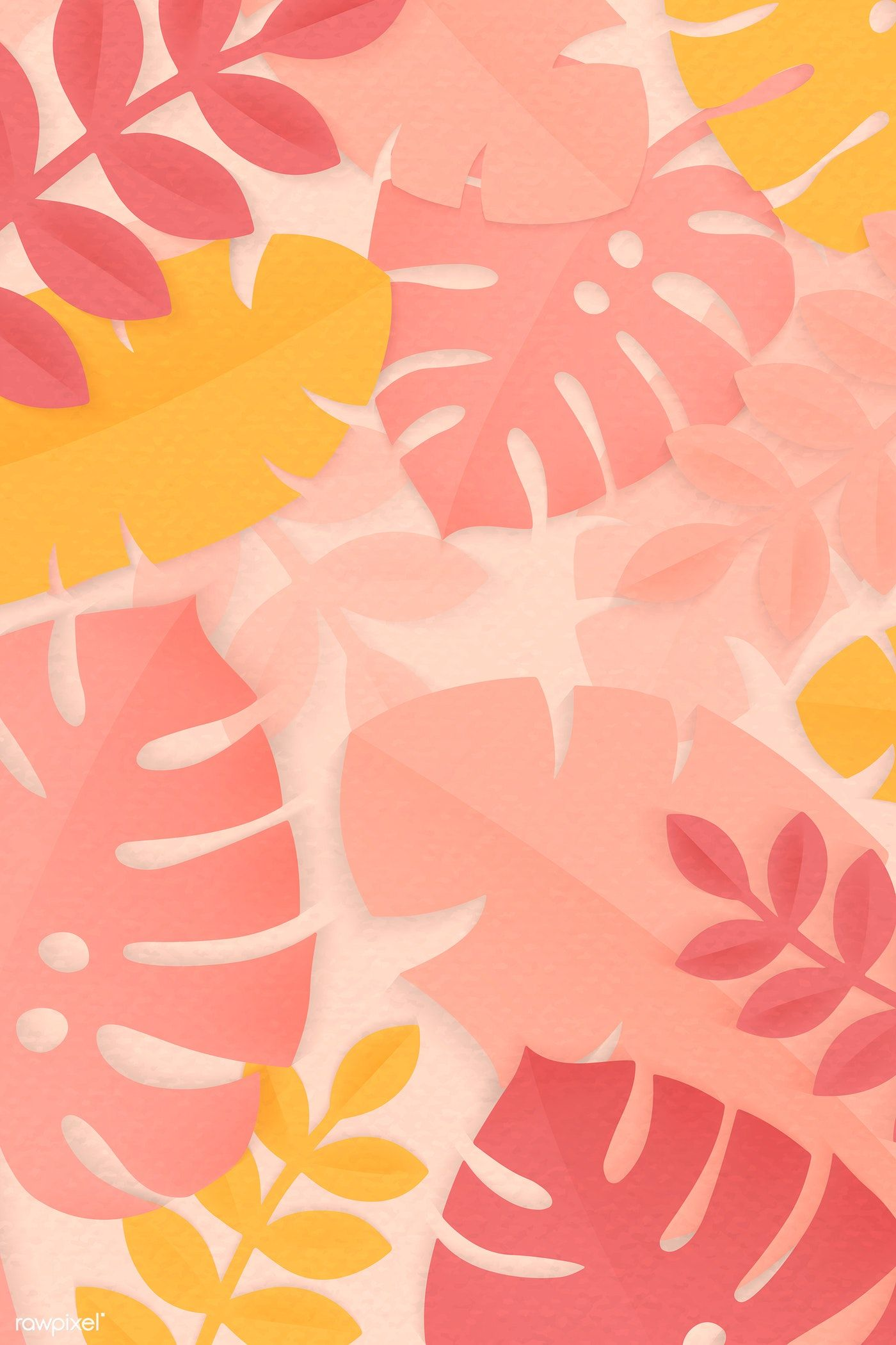 Download premium vector of Pink tropical leaves patterned on a pastel