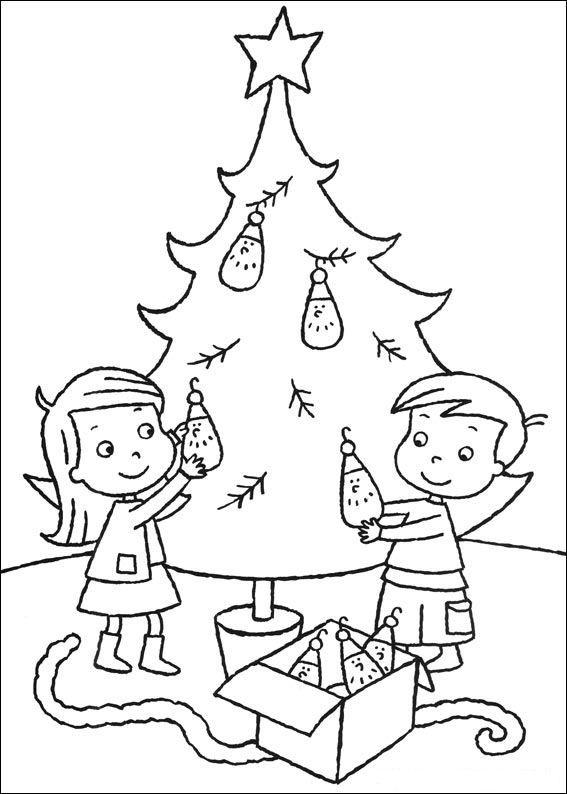 Grote Kleurplaten Kerstboom.Kleurplaat Kerstmis Meer De Kerstboom Versieren