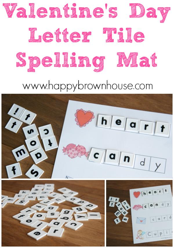 Valentine S Day Letter Tile Spelling Mat Alphabet Pinterest