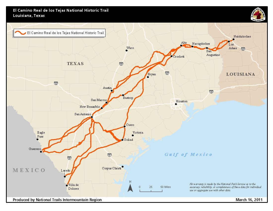 A Photographic Journey Of The Trail El Camino Real De Los Tejas National Historic Trail U S National Park Service The Camino History Trail Maps