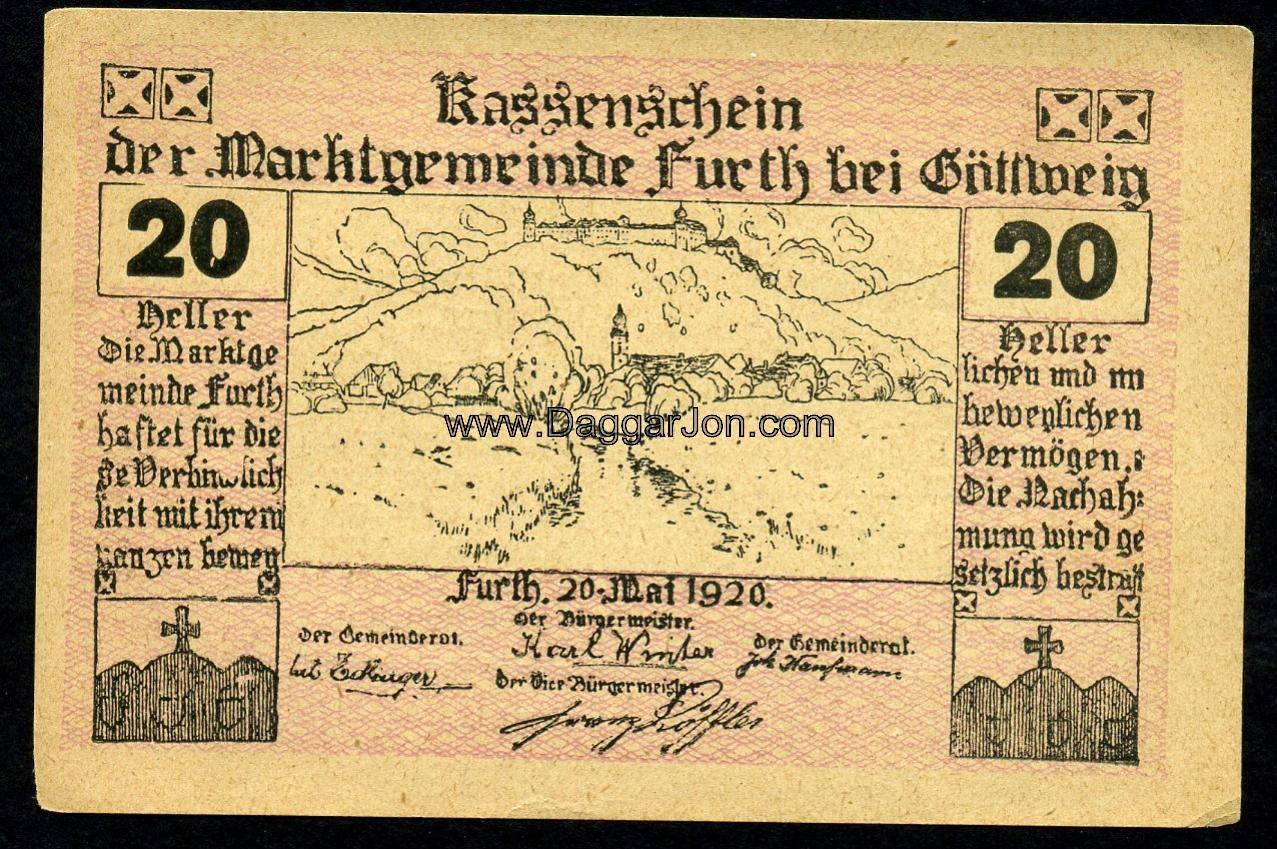 Austrian Money Furth Bei Gottweig Lower Austria 20 Helle 1920 Obverse Austria Austrian Furth