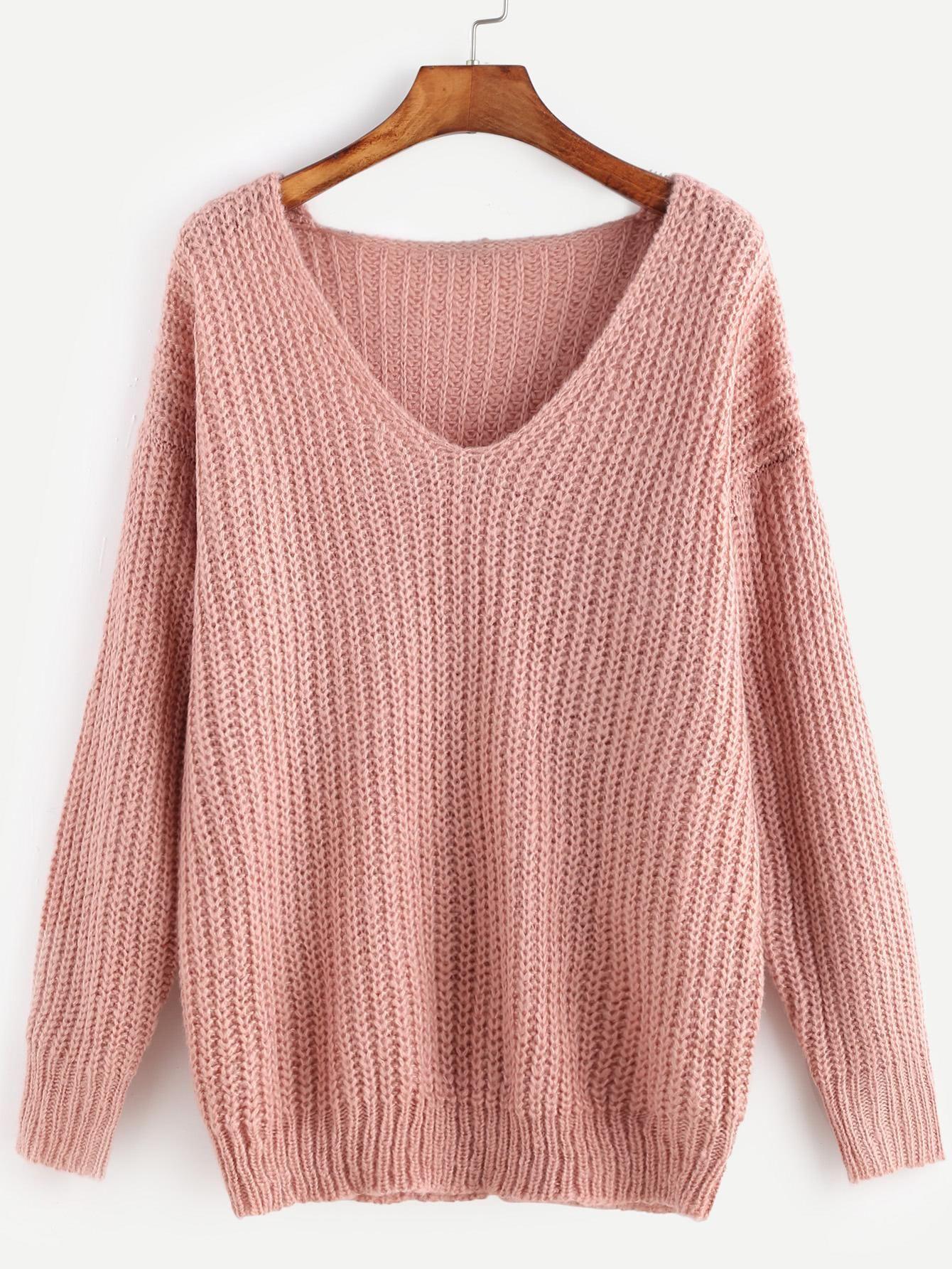 SheIn - SheIn Pink Ribbed Knit V Neck Drop Shoulder Sweater - AdoreWe.com
