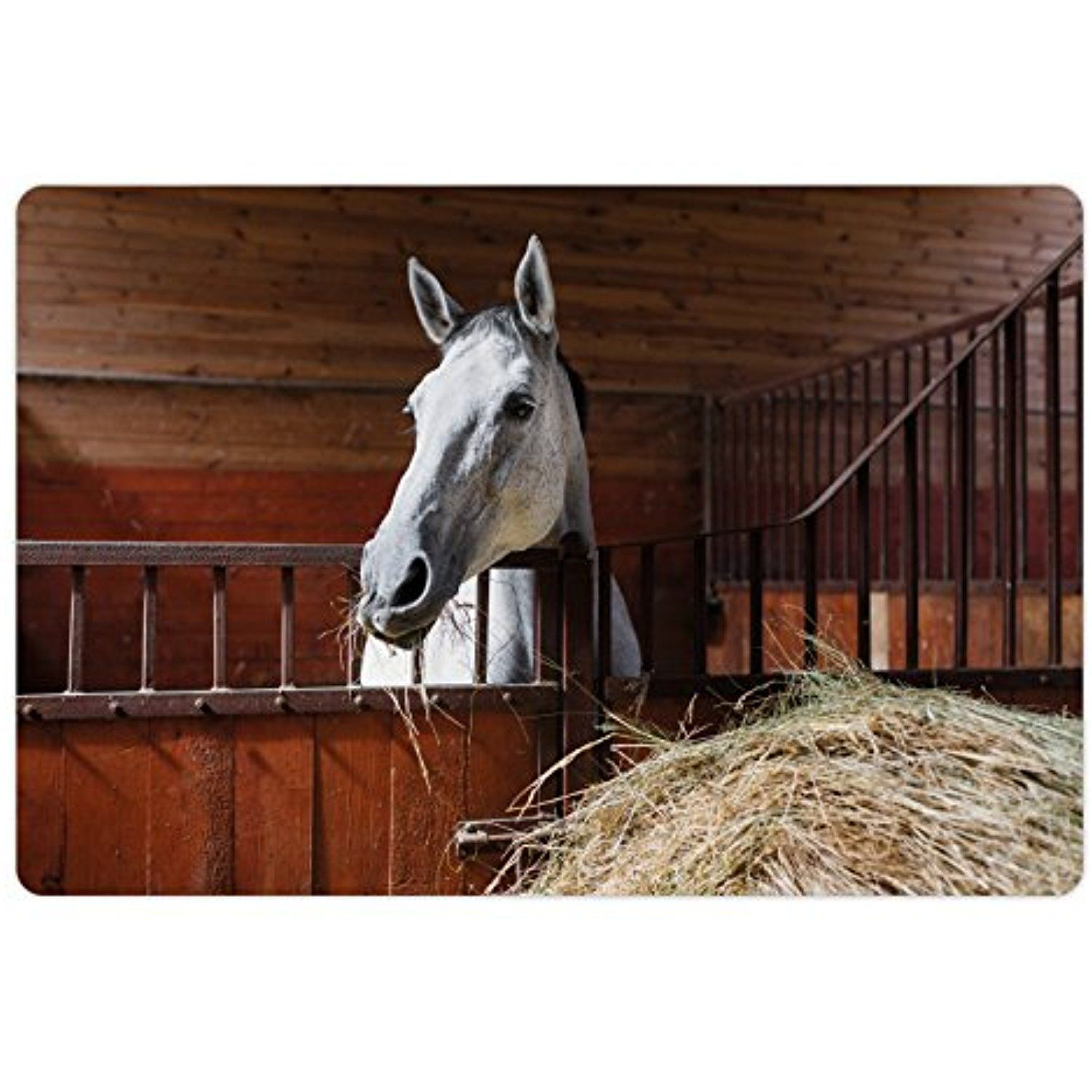 Horse Pet Mats for Food and Water by Lunarable, Young Mare