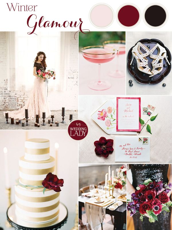 Moody Glam Winter Wedding In Burgundy Blush And Black Gold And Burgundy Wedding Wedding Inspiration Board Blush Wedding Colors