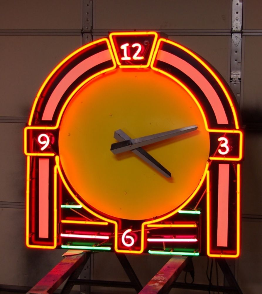 Old school art deco style movie theater neon clock. one of a kind ...