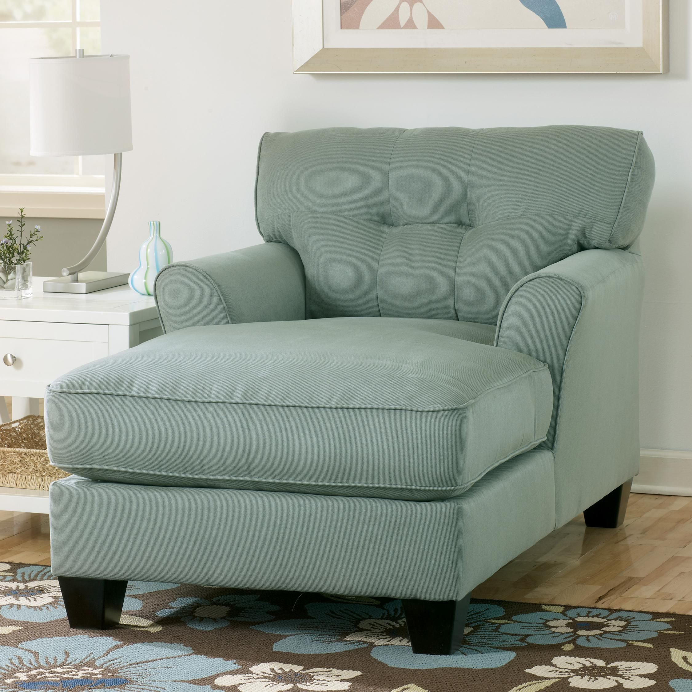 Lagoon Buttonless Tufted Two-Arm Chaise By