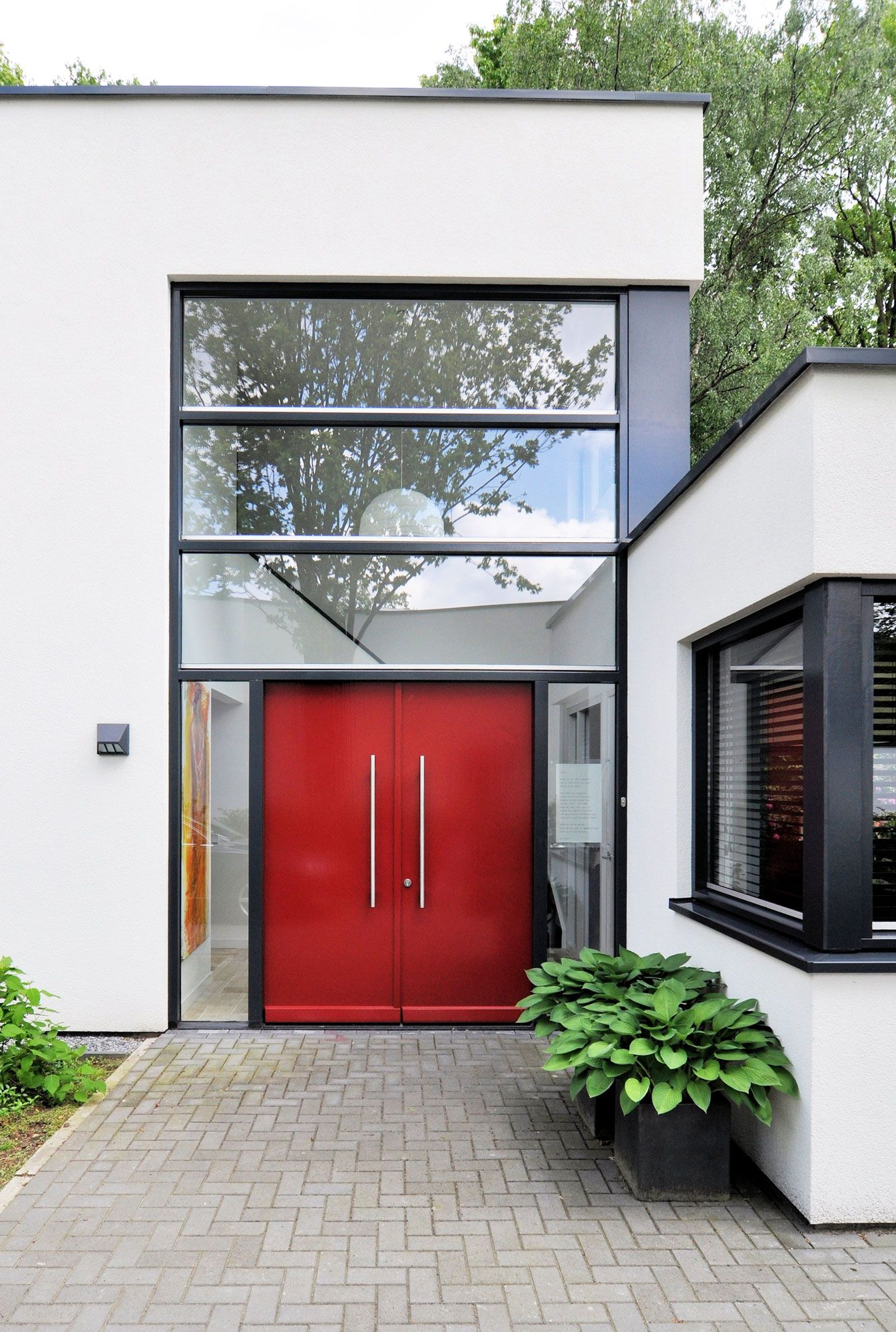 Modern Family Home House D H By Ckx Architecten Modern Entrance Door Modern Entrance Red Door House