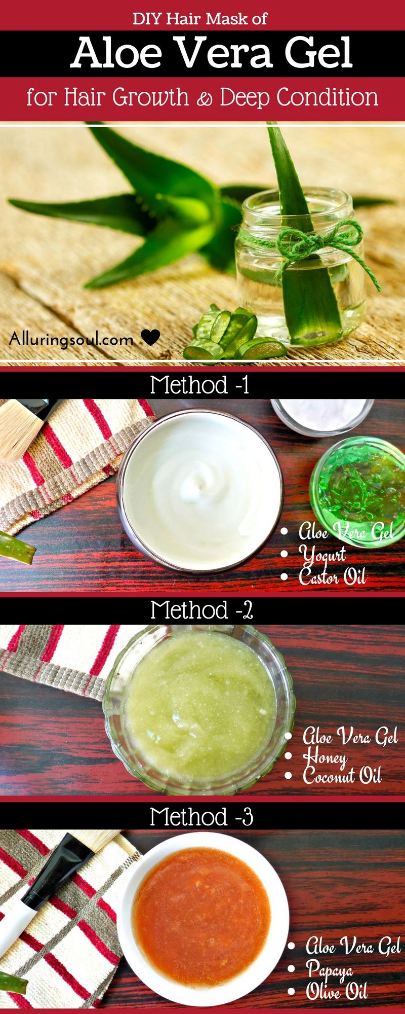 Top 3 DIY Hair Mask Of Aloe Vera Gel For Hair Growth And