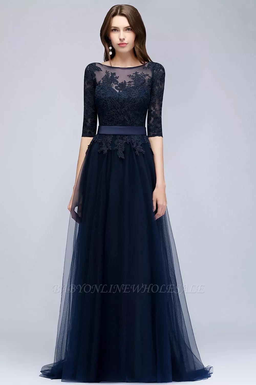 Navy Blau Abendkleider Mit Ärmel  Spitze Abiballkleider