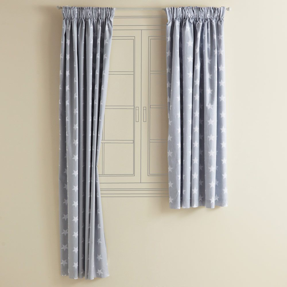 Kidsu0027 Blackout Curtains   Grey Star   Blackout Curtains   Bedding U0026 Decor