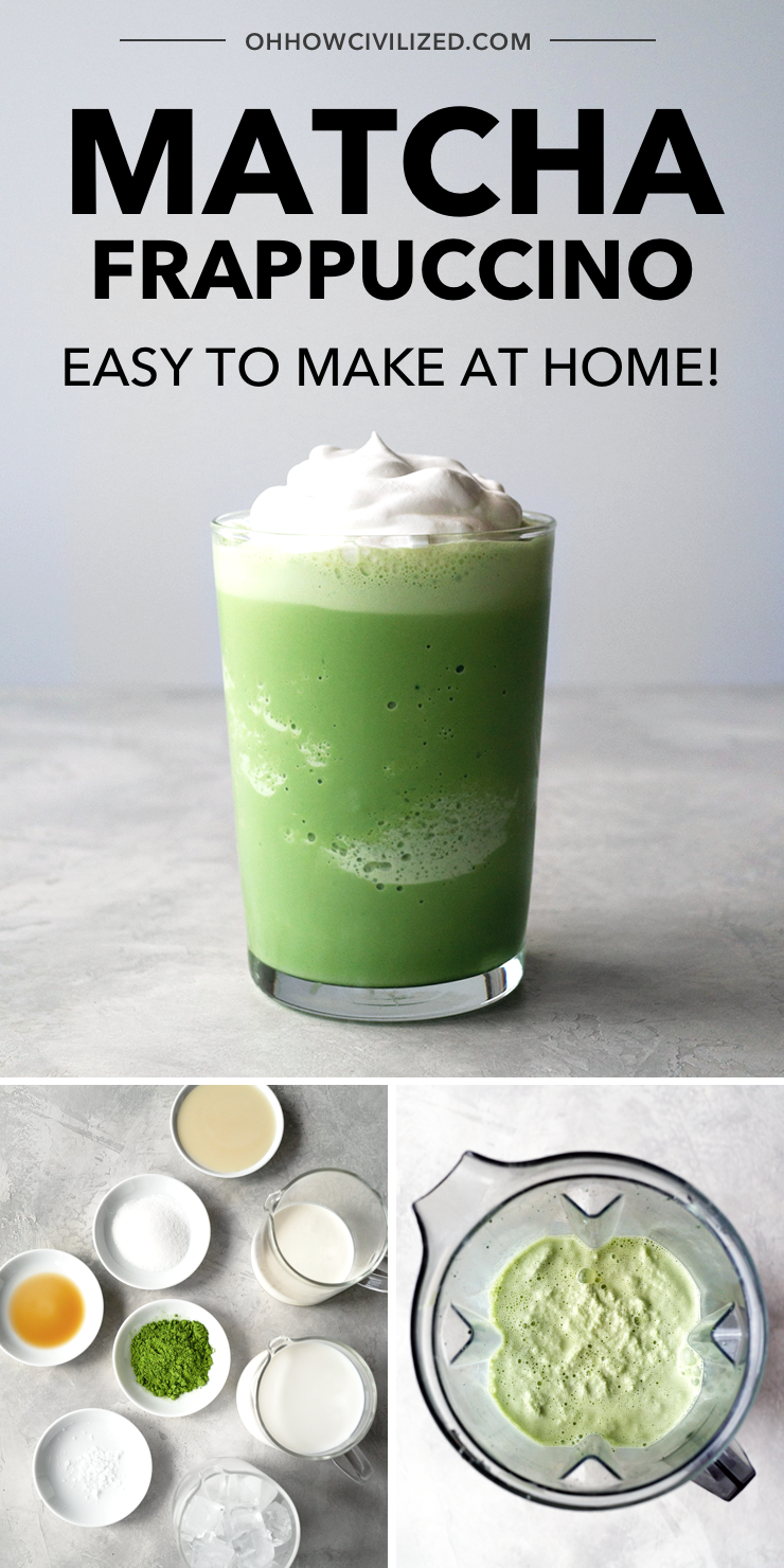 Quick And Easy Matcha Frappuccino In 2020 Green Tea Frappuccino Recipe Matcha Frappuccino Matcha