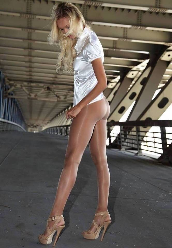 White Wearing Pantyhose Blouse Fine And Blonde Shiny Beautiful Girl EDHI29