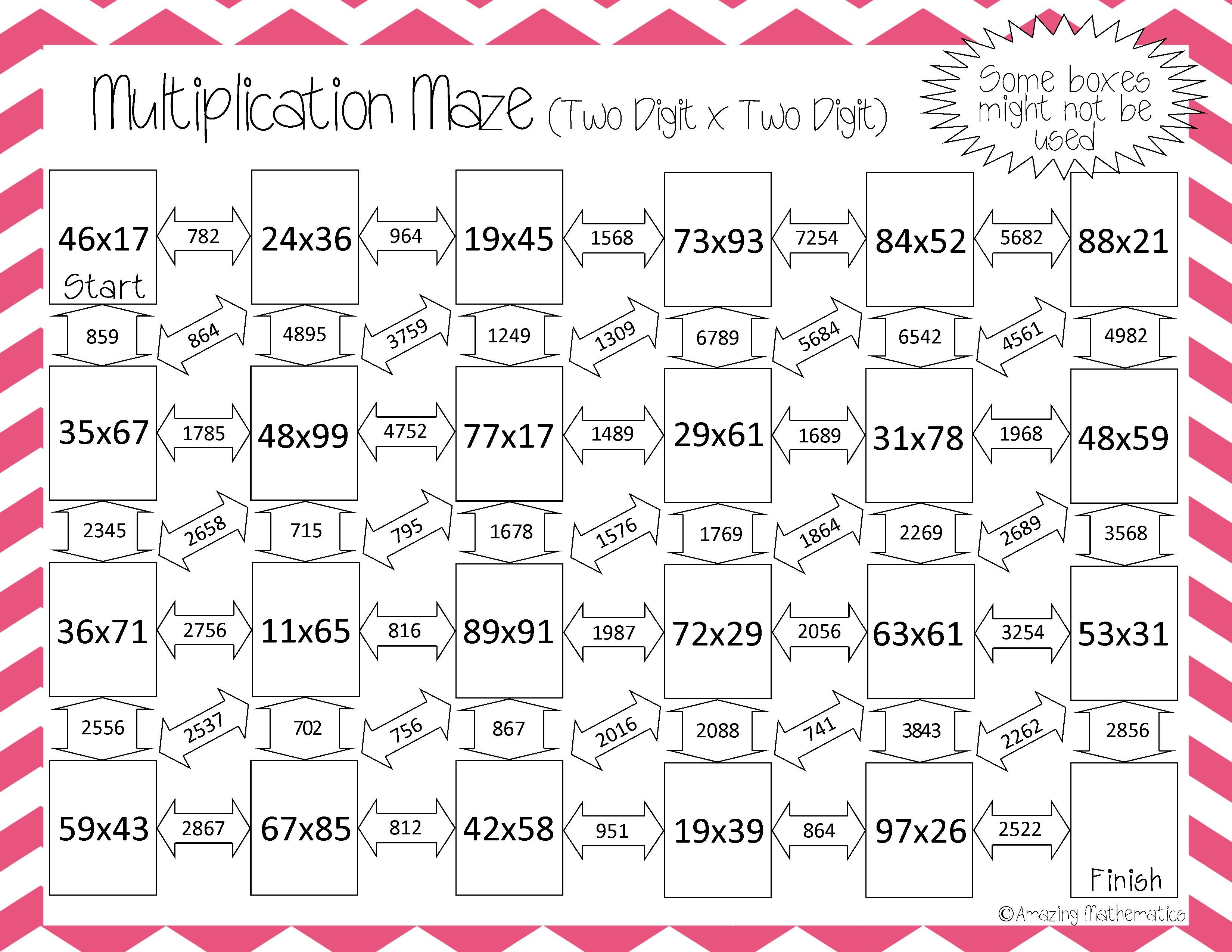 Great way to practice two-digit by two-digit multiplication!    Multiplication [ 2550 x 3300 Pixel ]