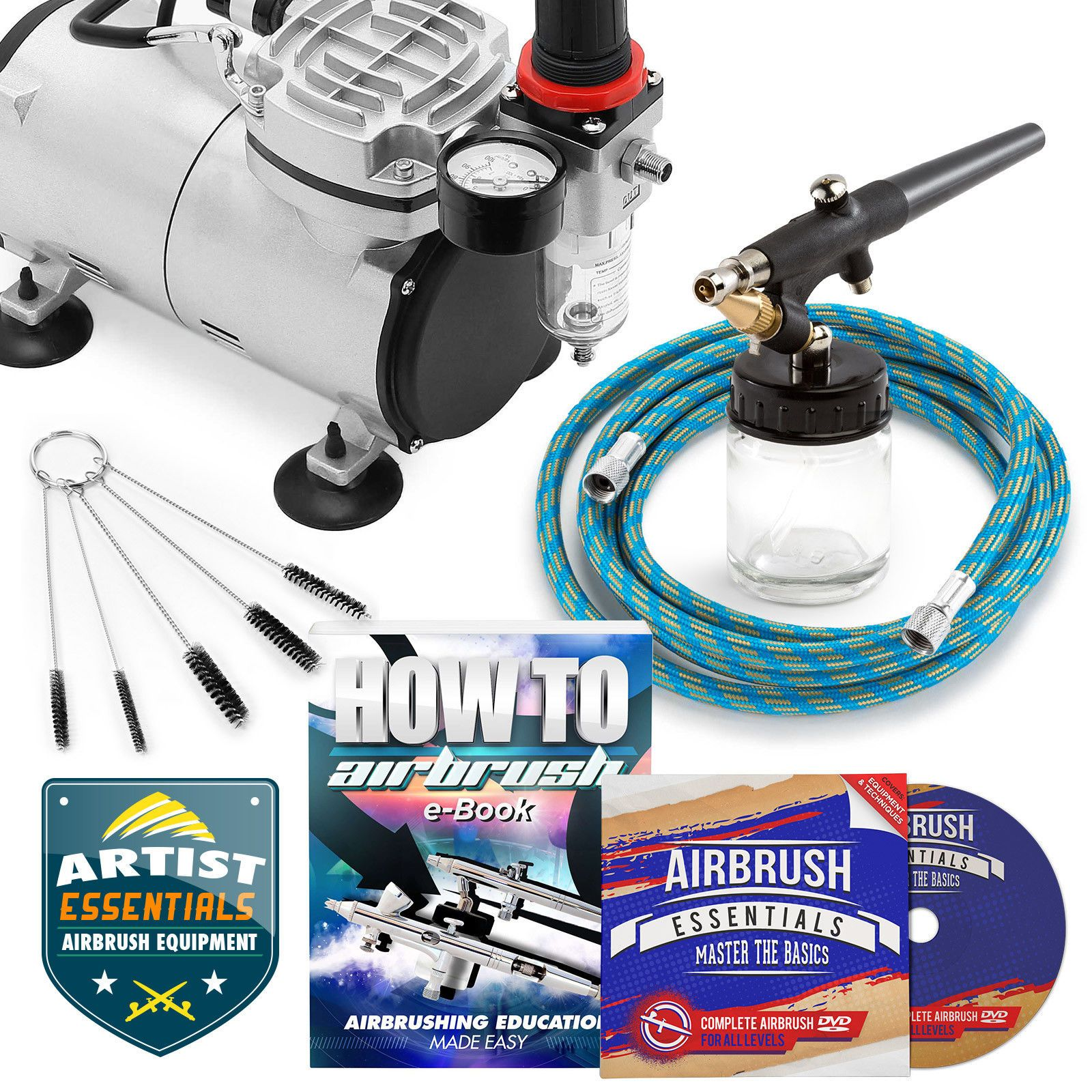 Starter Airbrush Kit Single Action Siphon Air Compressor