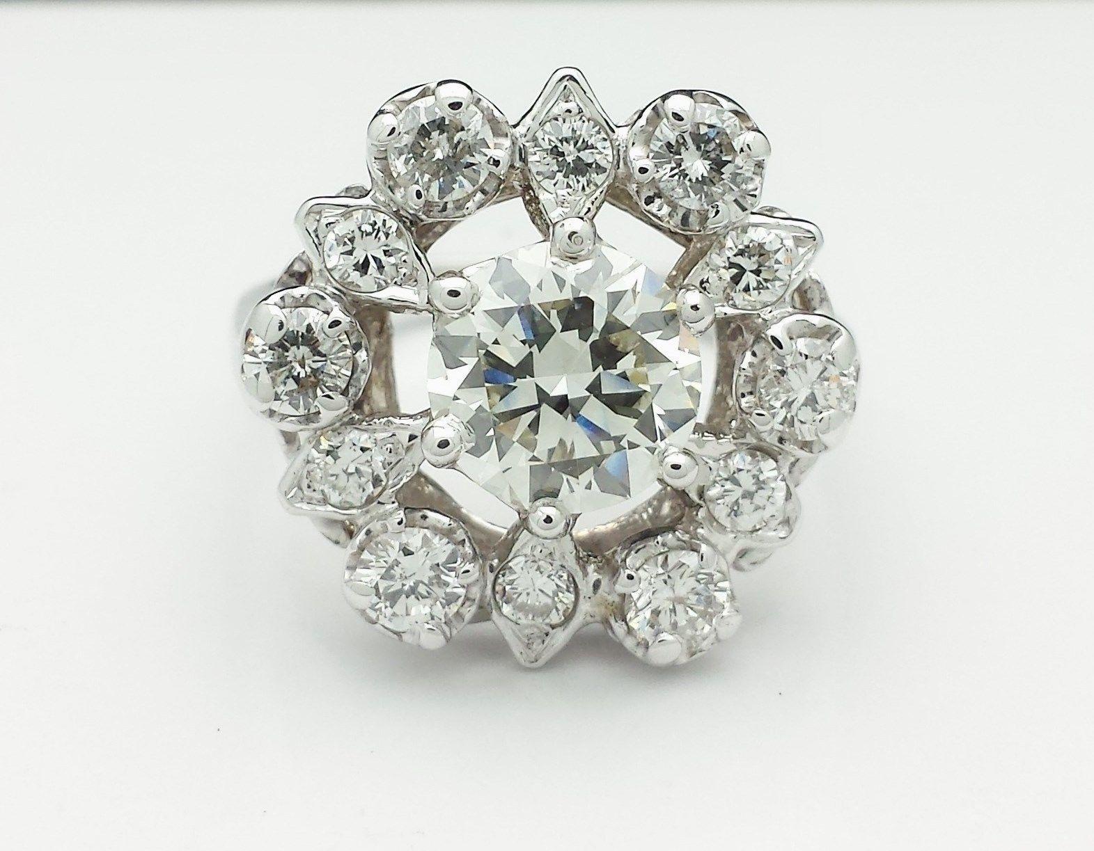 Stunning 1 5 Carat VS2 Diamond Engagement Ring 14k White Gold Estate
