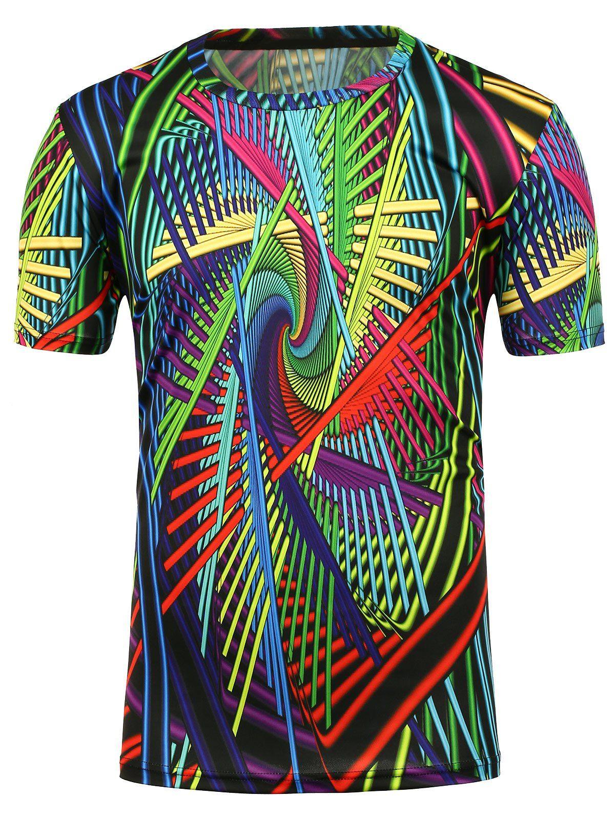 ea5b5422c82ef 3D Geometric Printed Crew Neck T-Shirt