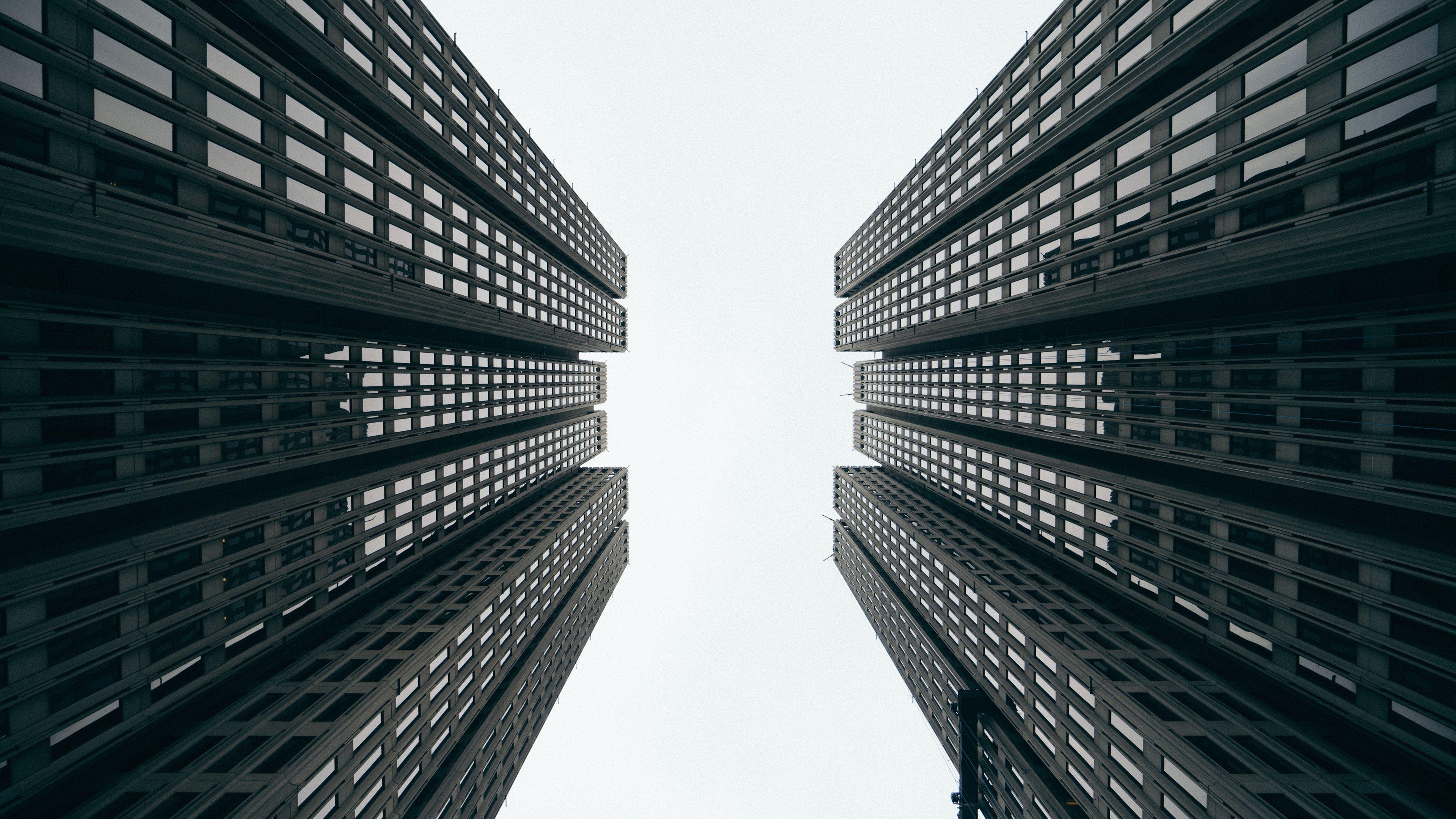 3840x2160 Wallpaper Skyscrapers Buildings Bottom View