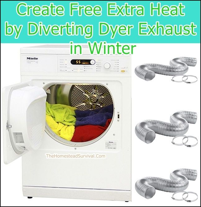 Create Free Extra Heat by Diverting Dryer Exhaust in Winter - Frugal Homesteading - Save Money - The Homestead Survival.Com