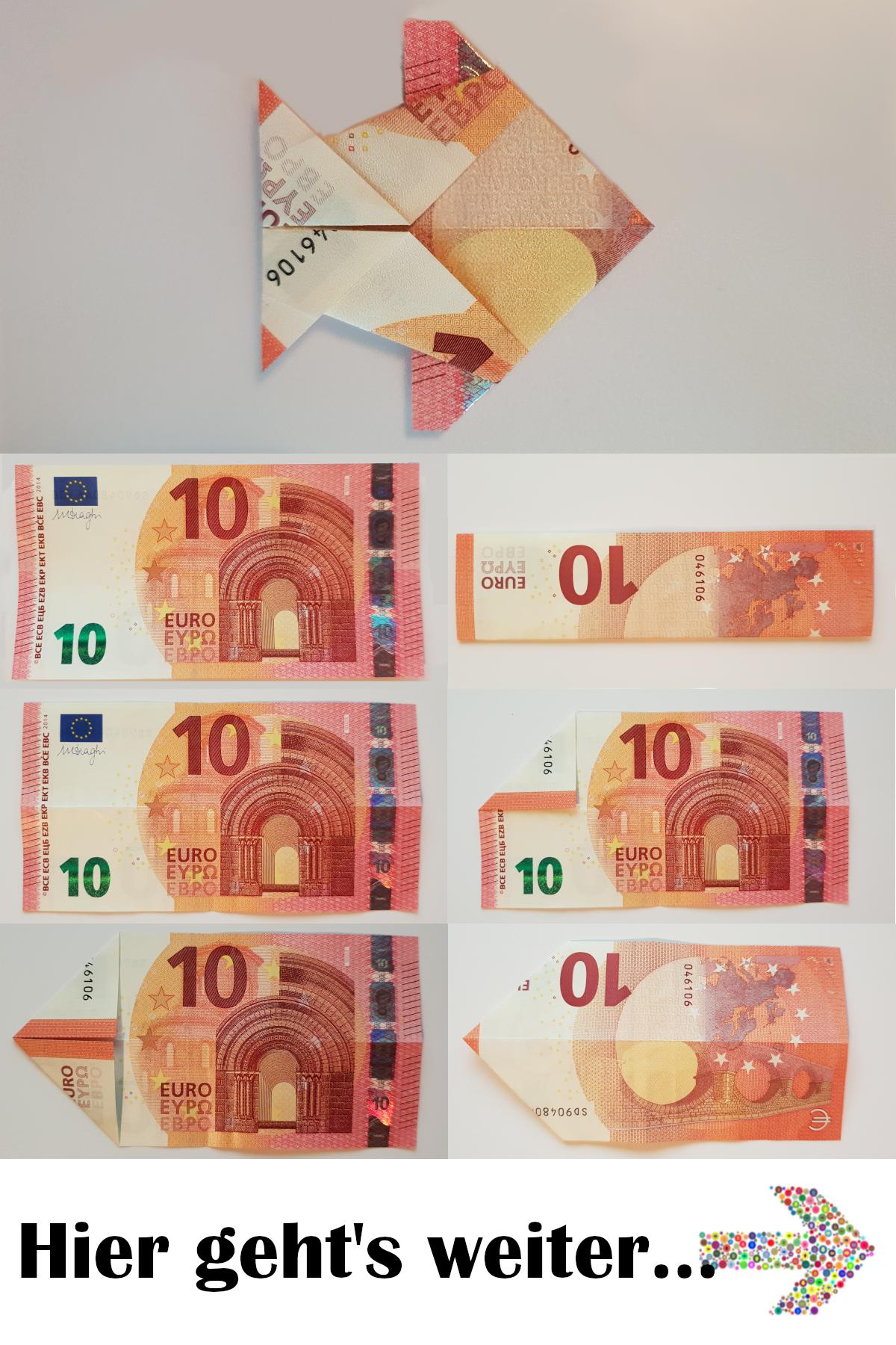 Folding fish out of a banknote – tutorial – instructions  – Geldscheine falten: Tiere – Foto-Anleitungen