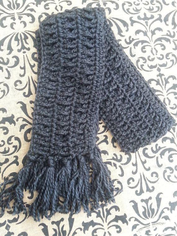 Charcoal Gray Scarf, Crochet Scarf, Women Teen Girl Men Boy, Soft ...