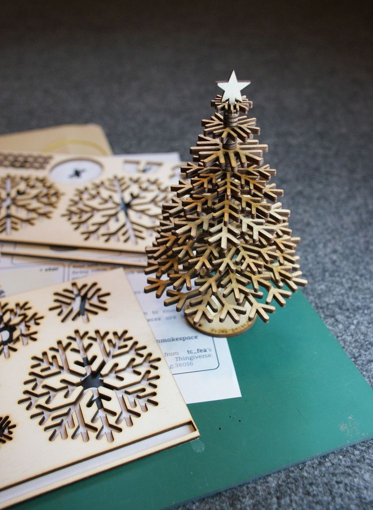 lasercut design files for snowflake christmas tree creative commons laser cutflat packchristmastreebyusedbytes