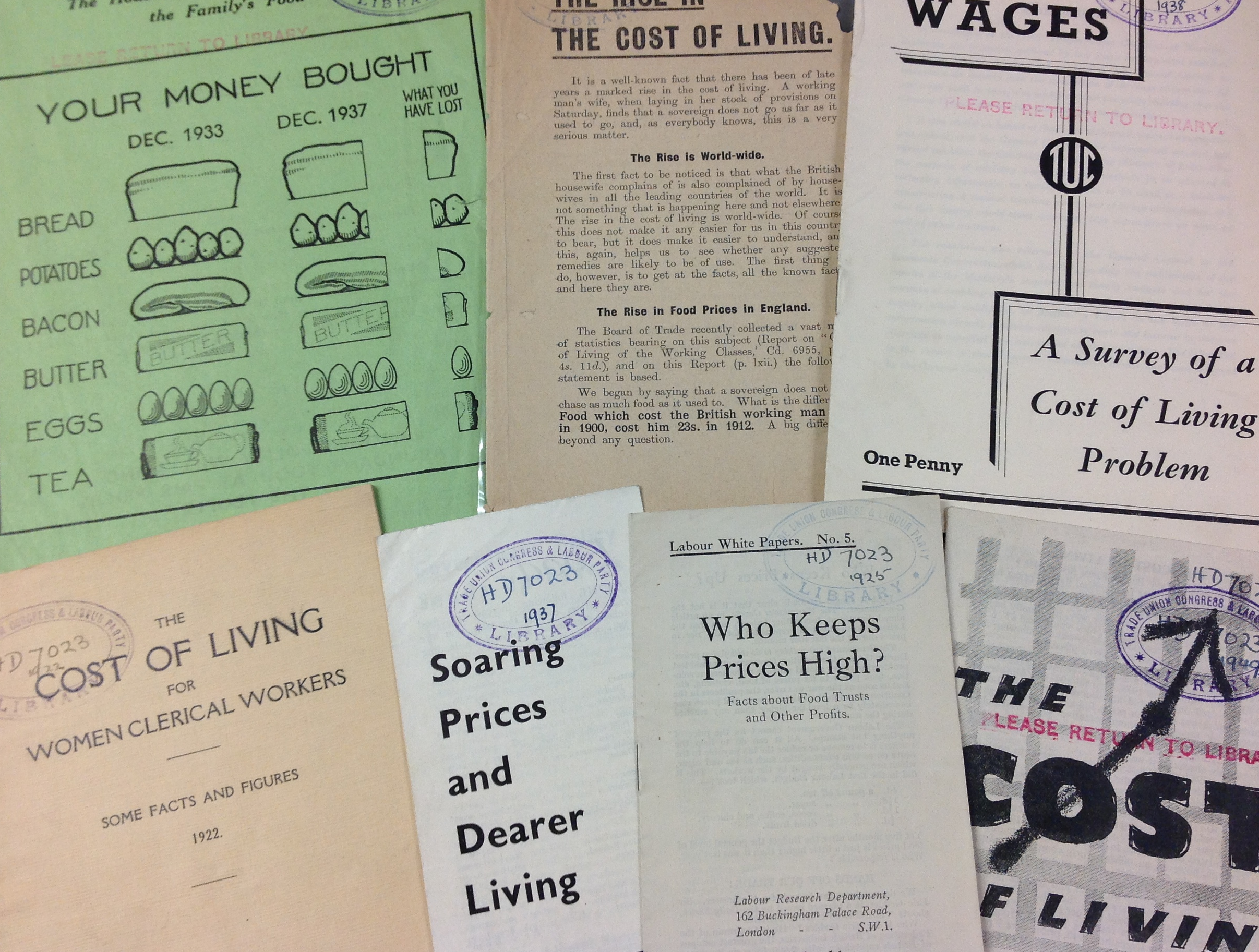 a collection of pamphlets and articles about the rise in the cost of