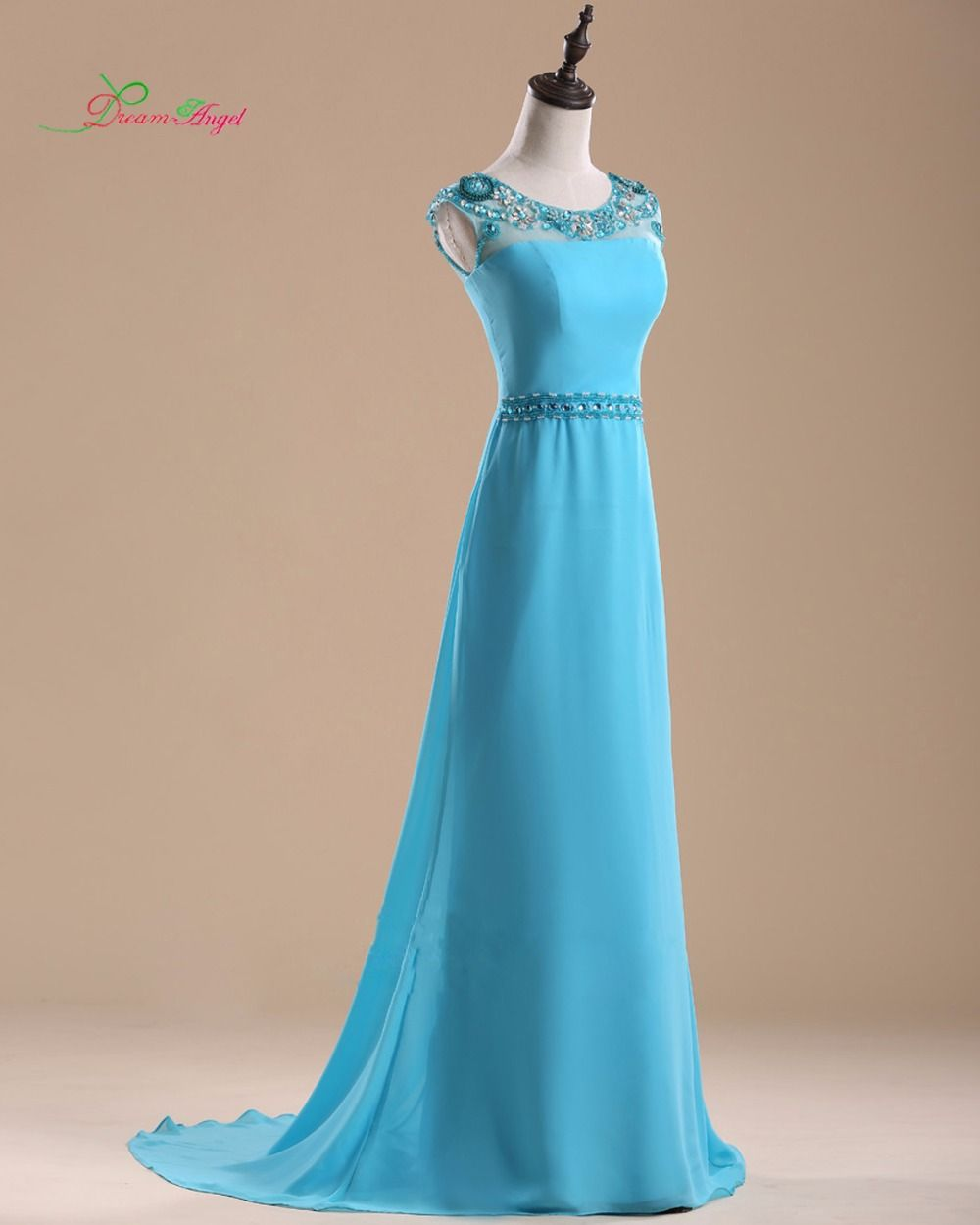Dream angel elegant scoop neck long straight prom dress