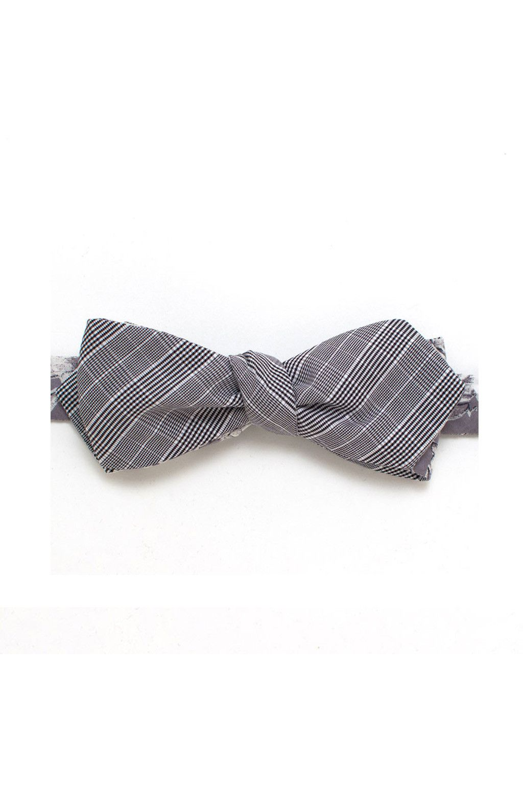 GENERAL KNOT Suiting Check & Grey Floral Reversible Bow Tie