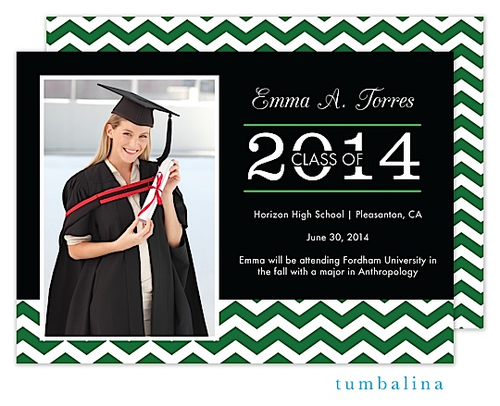 Graduation Announcement Green White Chevron Class of 2014