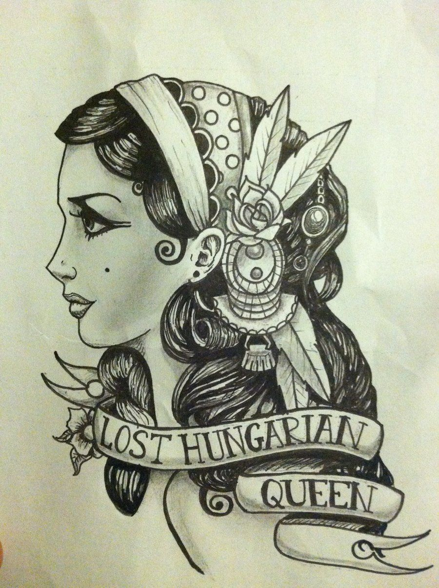 gypsy girl tattoo drawing