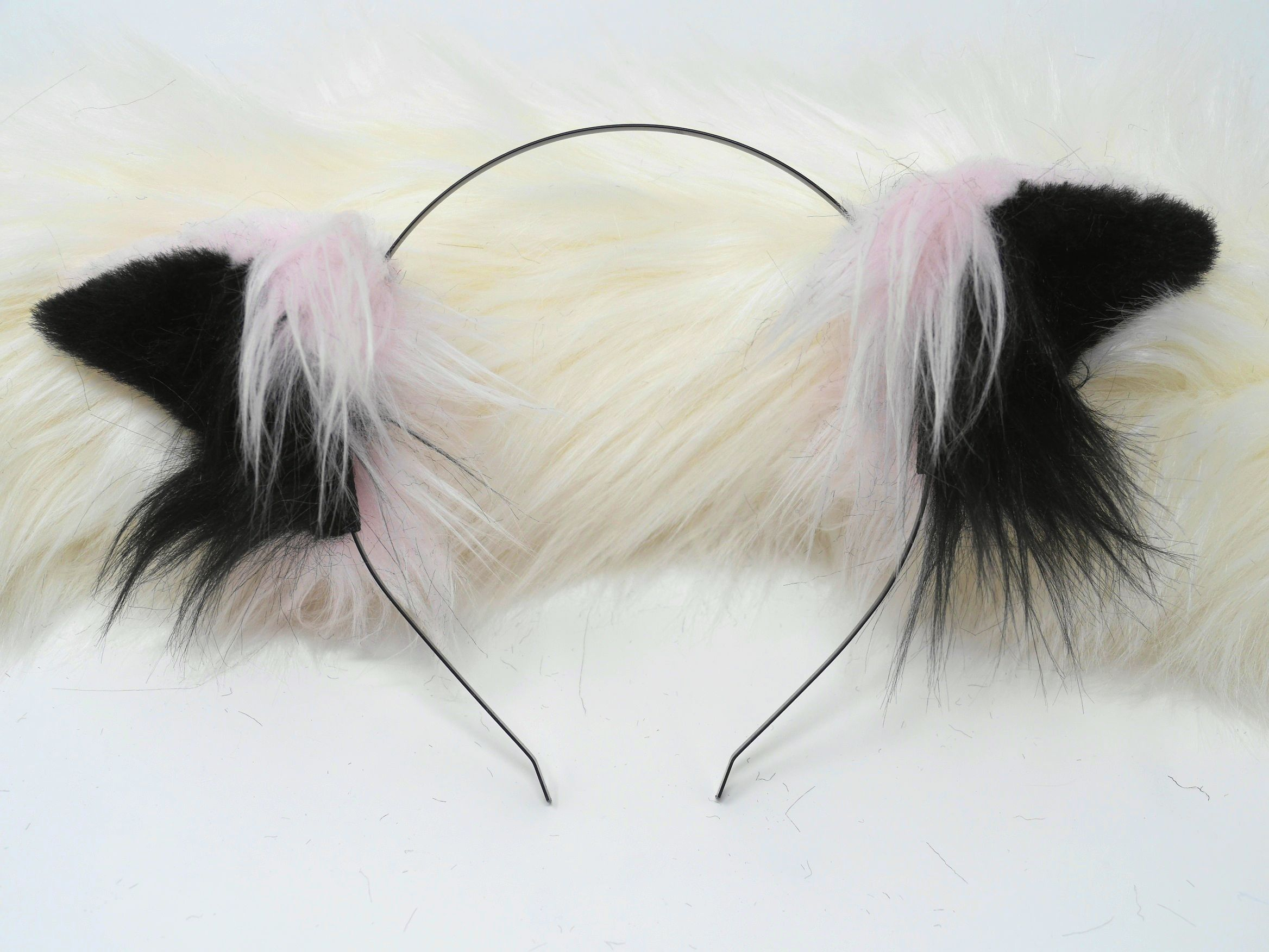 Pink and Black Cosplay Neko Girl Ears Kitten Play Cat Girl