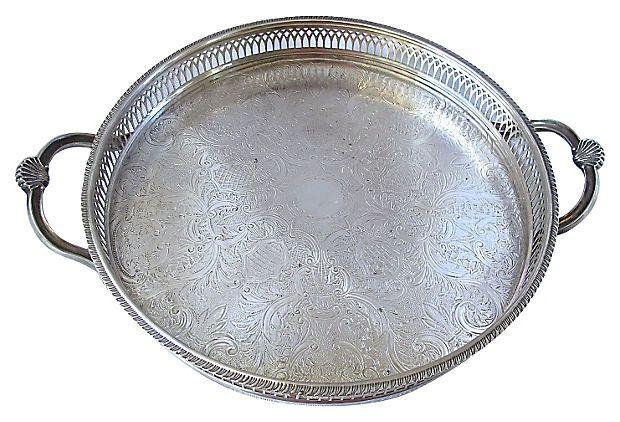 BUTLER'S PANTRY – Silverplate Round Gallery Tray on OneKingsLane.com
