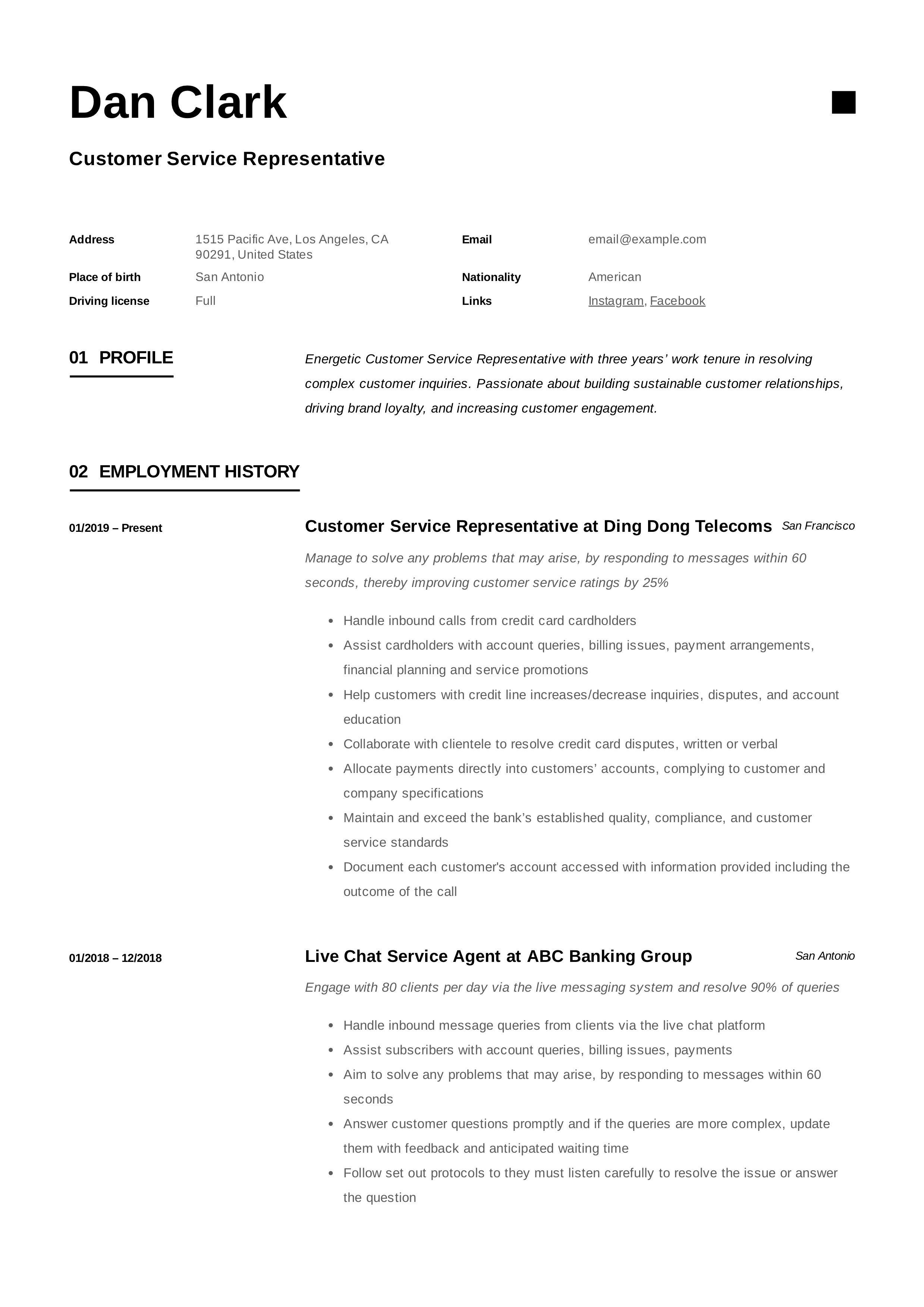 Customer Service Representative Resume in 2020 Resume