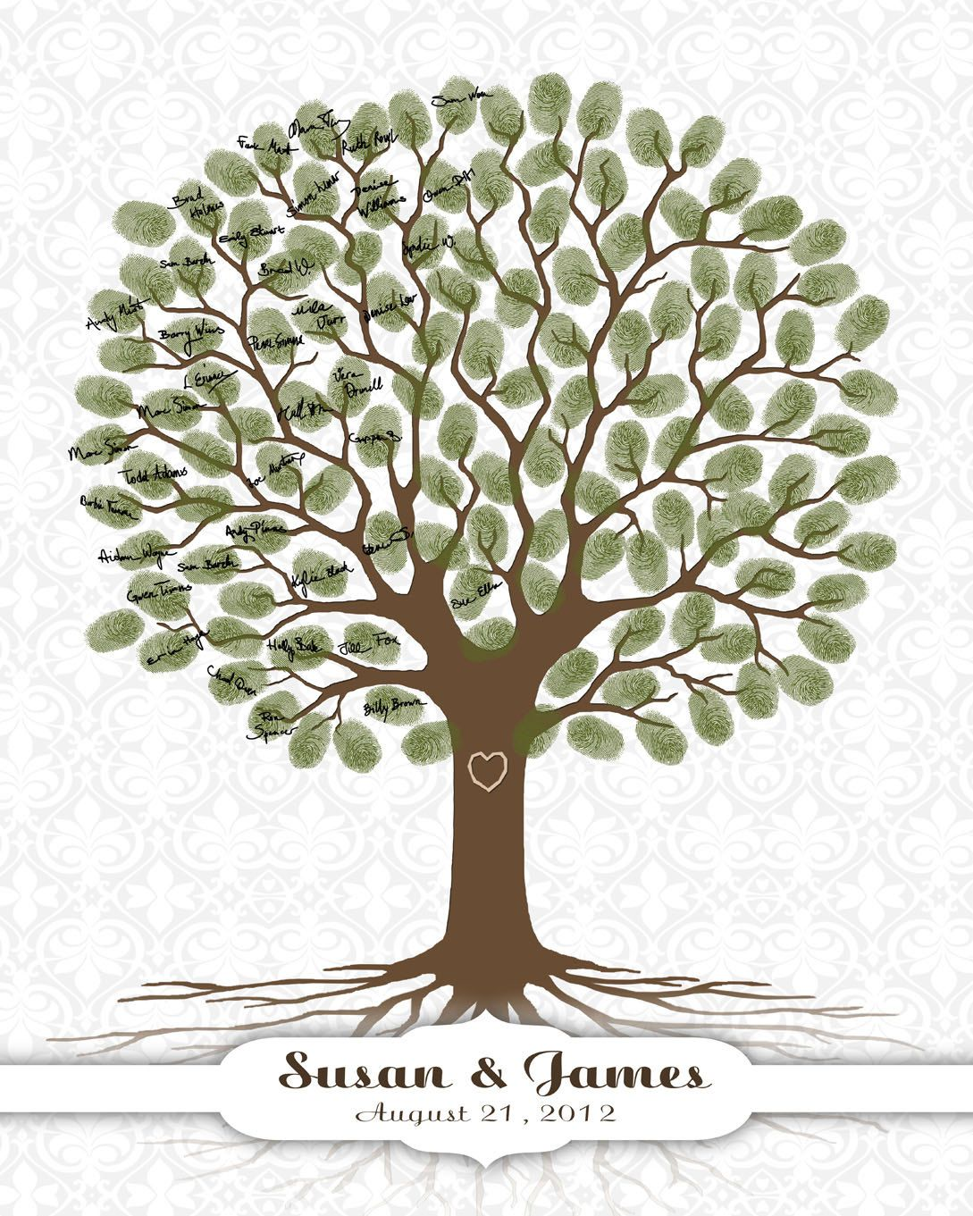 wedding tree guest book print with damask by custombybernolli
