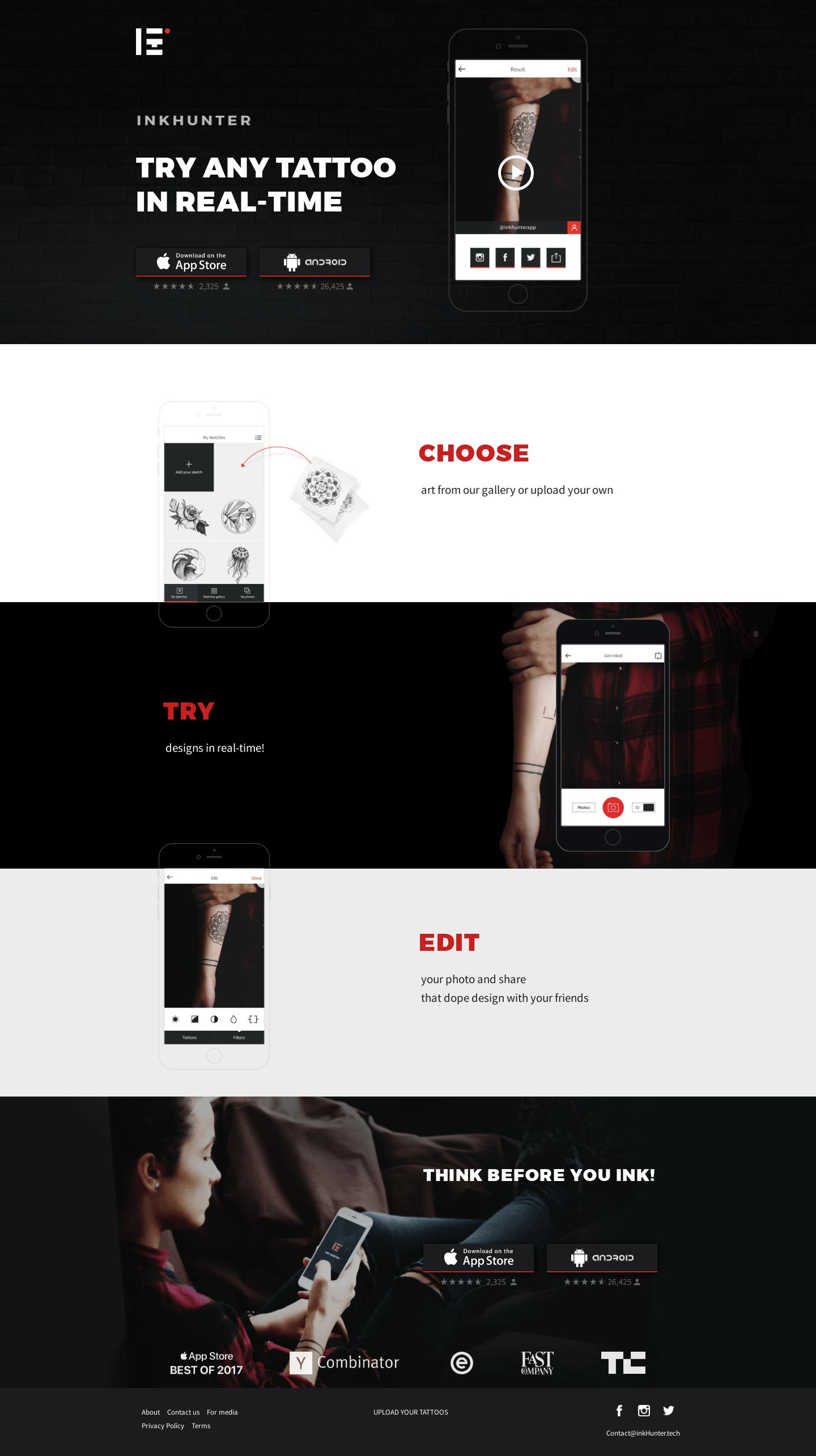 Landing Page Example Inkhunter Tattoo Veb Dizajn Dizajn