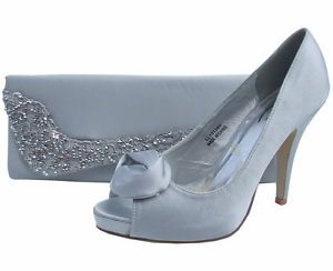 47aeabe03282 Ladies Wedding Bridal Silver Grey Satin Peep Toe Heel Evening Shoes